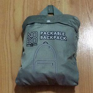 Army green packable backpack No Boundaries NWOT!